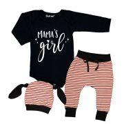 Conjunto Bebê 3 Peças Body Calça Touca Mama´s Girl