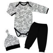 Conjunto Bebê 3 Peças Body Calça Touca Preguiça
