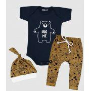 Conjunto Bebê 3 Peças Body Calça Touca Urso Hug Me