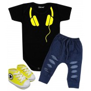 Conjunto Bebê Body Calça e Tênis Fone de Ouvido