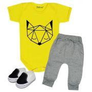 Conjunto Bebê Body Calça e Tênis Fox Baby