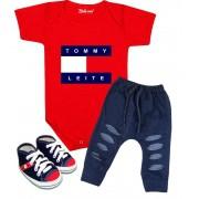 Conjunto Bebê Body Calça e Tênis Tommy Leite Vermelho
