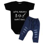 Conjunto Bebê Body Leite Fralda e Rock