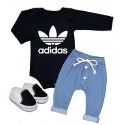 Conjunto Bebê Estiloso 3 peças Body calça e tênis