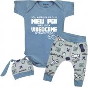 Conjunto Bebê Frase Roupa Divertida Papai Videogame