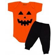 Conjunto Roupa Bebê Halloween Abóbora