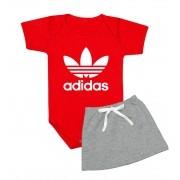 Conjunto Bebê Menina Adidas Body e Saia