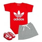 Conjunto Bebê Menina Adidas Body e Saia e Tênis