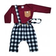 Conjunto Bebê Menino Estiloso Body + Calça Suspensório