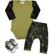 Conjunto Bebê Militar Camuflado + Tênis