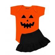 Conjunto Bebê Primeiro Halloween Abóbora Saia