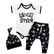 Conjunto de Rock Bebê Roupa Estilosa Body Touca e Calça