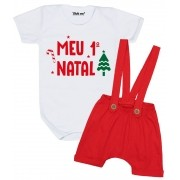 Conjunto Meu Primeiro Natal com Shorts Suspensório Rena