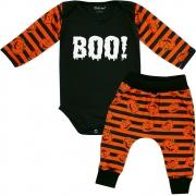 Conjunto Roupa Bebê Boo Halloween Abóbora