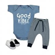 Conjunto Roupa Bebê Estilosa Good Vibes