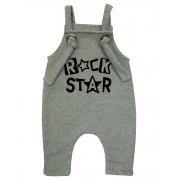 Jardineira Para bebê Macacão Estiloso Rock Star