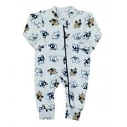 Macacão Bebê em Soft com zíper Bulldog