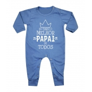 Macacão Bebê Longo em Malha Azul Melhor Papai