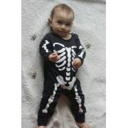 Macacão Bebê Longo em Malha Halloween Esqueleto