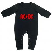 Macacão Bebê Longo em Malha Preto Rock ACDC