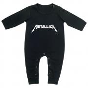 Macacão Bebê Longo em Malha Preto Rock Metallica
