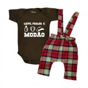 Roupa Bebê Frase Leite Fralda e Modão
