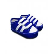 Tênis Bebê azul listras brancas Sapatinho Estiloso