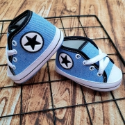 Tênis Bebê Estilo Star Baby Jeans Sapatinho Cano Alto