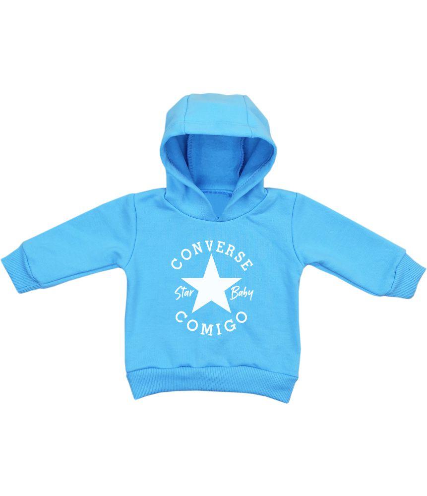 Blusa Moletom Bebê Azul com Capuz Converse Comigo