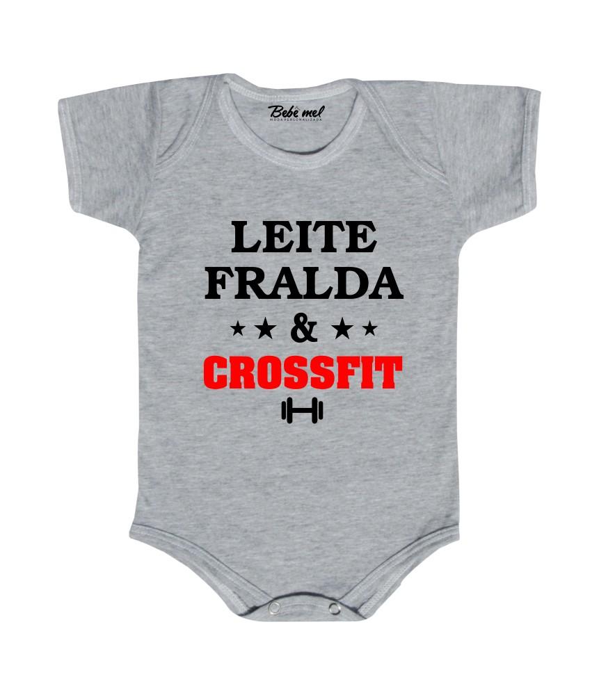 Body Bebê Frase Leite Fralda e Crossfit