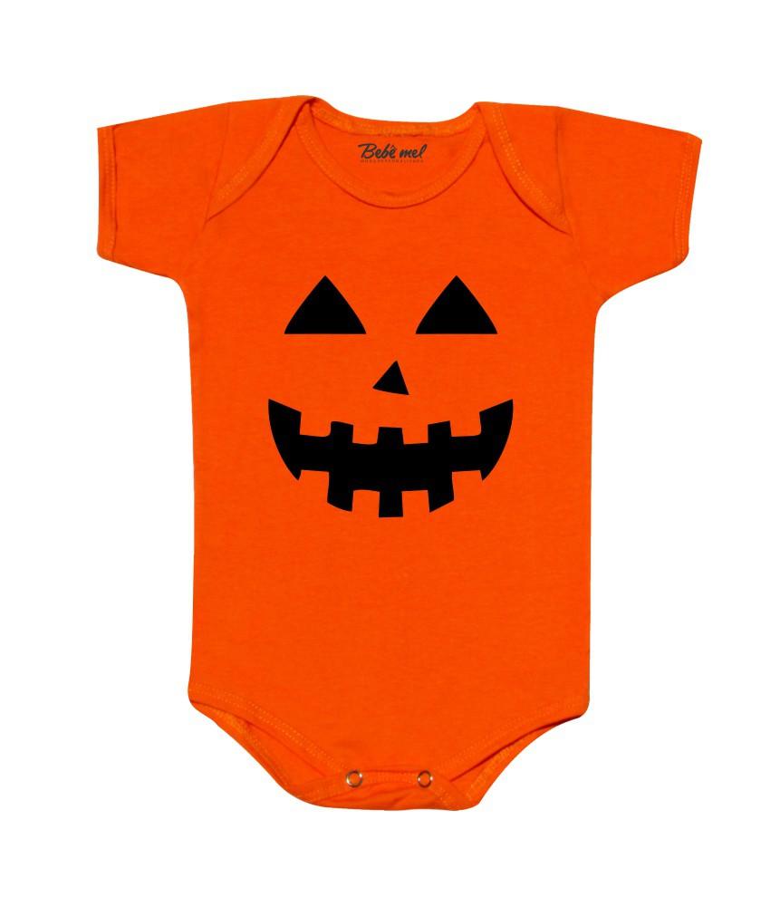 Body Bebê Halloween Divertido Abóbora