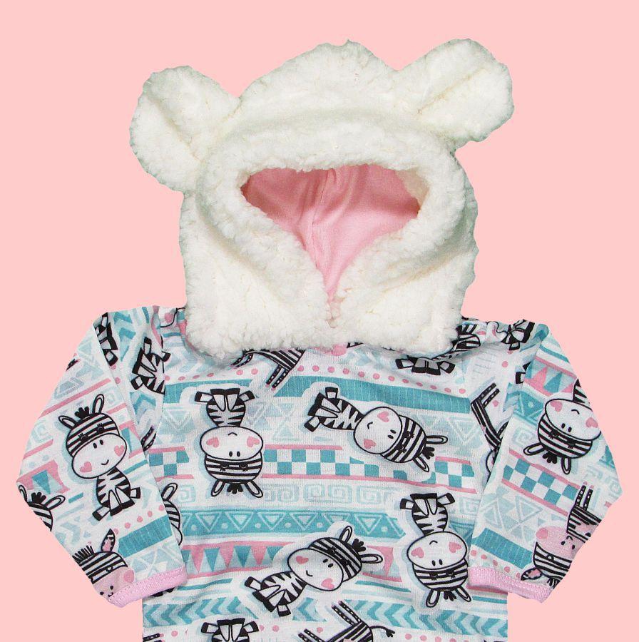 Body Bebê Inverno Longo com Capuz Pelinho Zebra