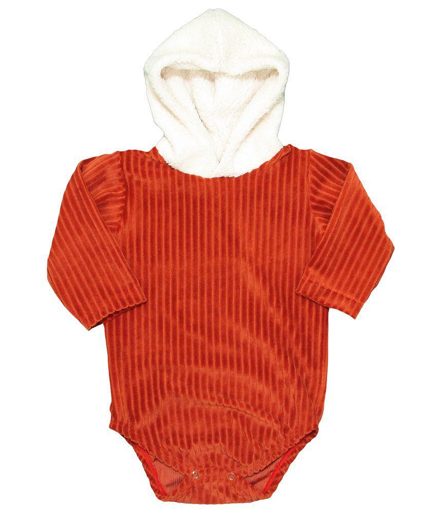 Body Bebê Inverno Longo em Veludo com Touca Pelinho