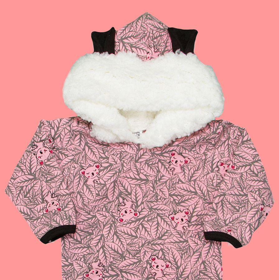 Body Bebê Menina Inverno Longo com Capuz Pelinho Coala