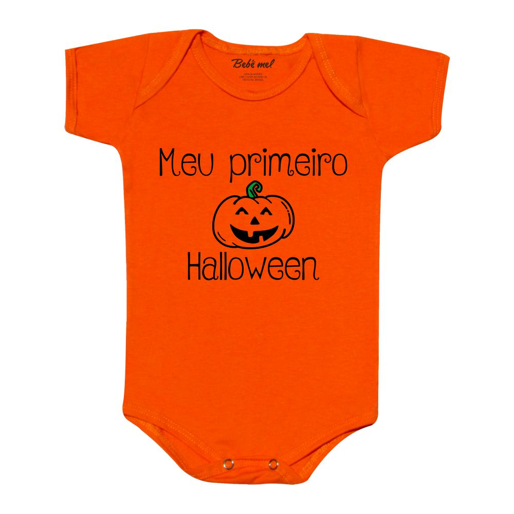 Body Bebê Meu Primeiro Halloween Divertido Abóbora