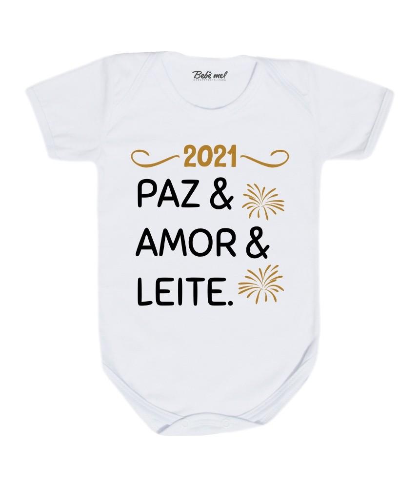 Body Bebê Paz Amor e Leite Réveillon Ano Novo 2021