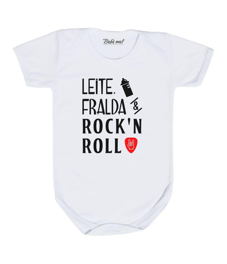 Body Bebê Rock Leite Fralda e Rock´n Roll