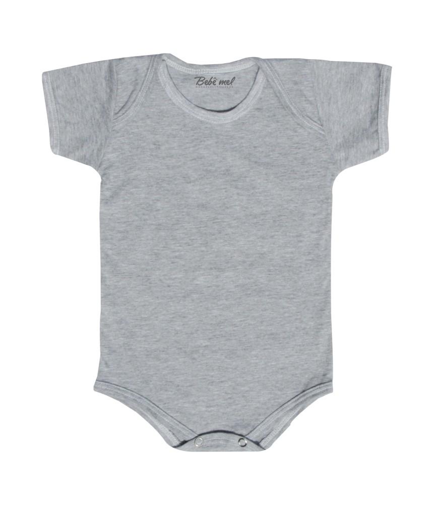 Body de Bebê Cinza Liso Manga Curta