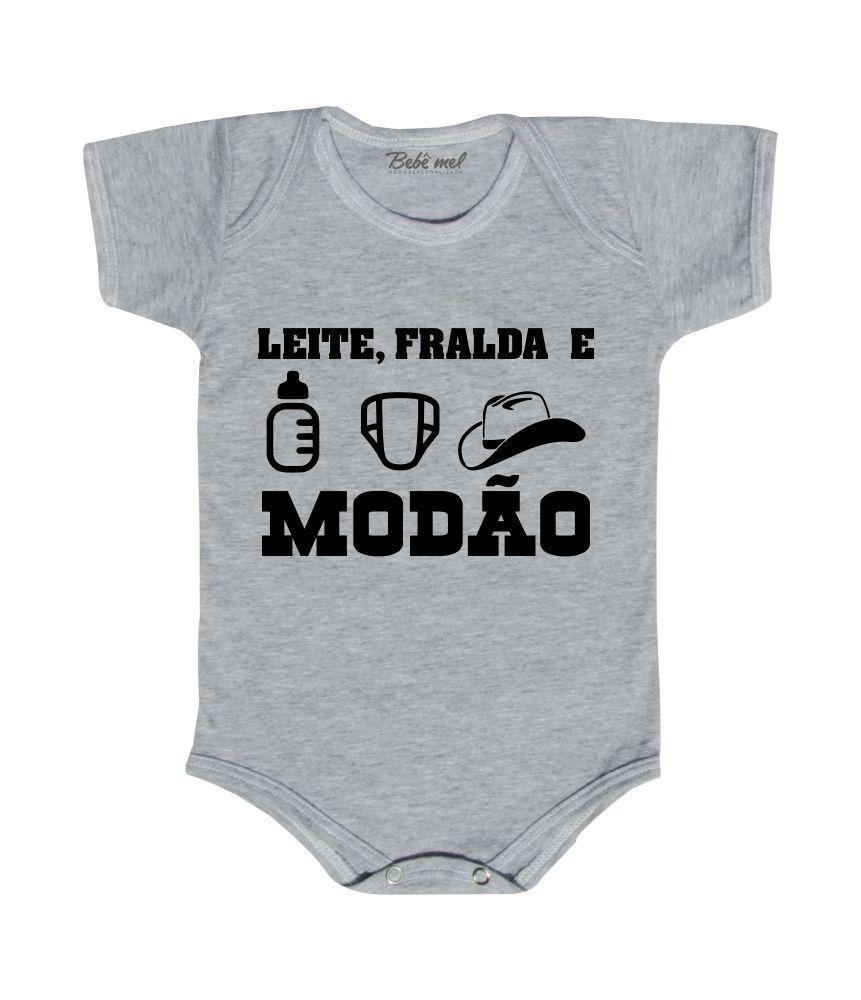 Body de Bebê Divertido Leite Fralda e Modão