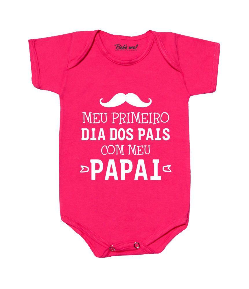 Body de Bebê Meu Primeiro Dia dos Pais Bigode