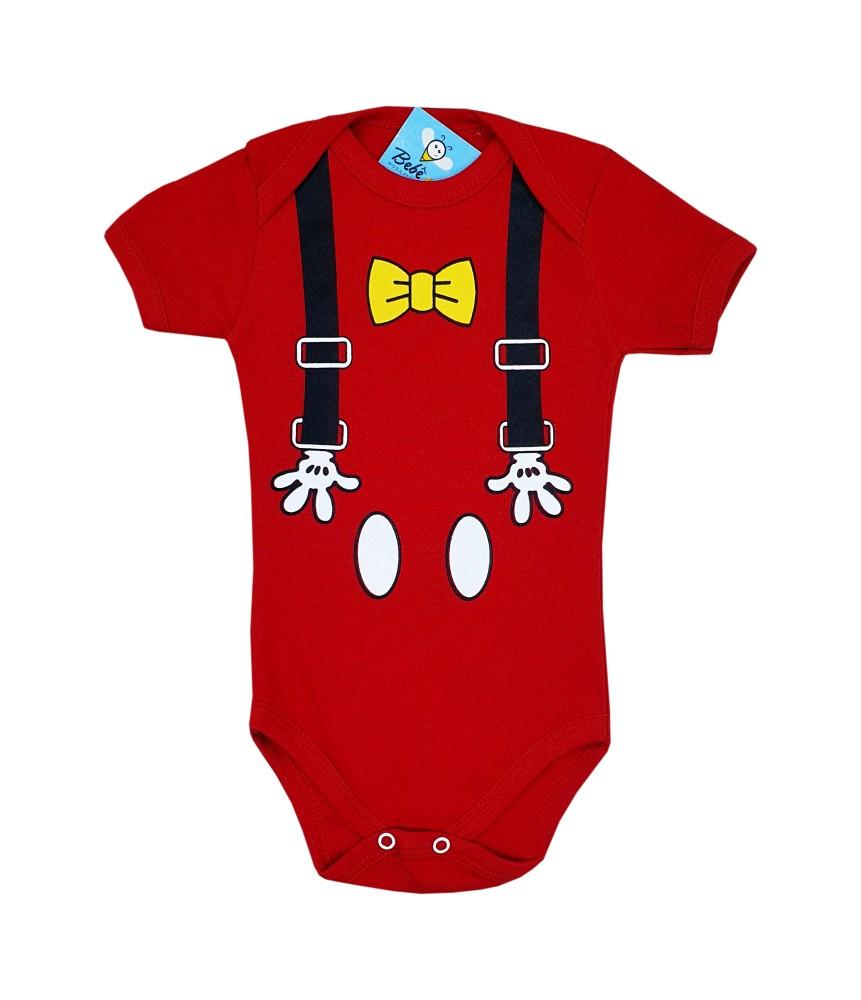 Body de Bebê Mickey Suspensório