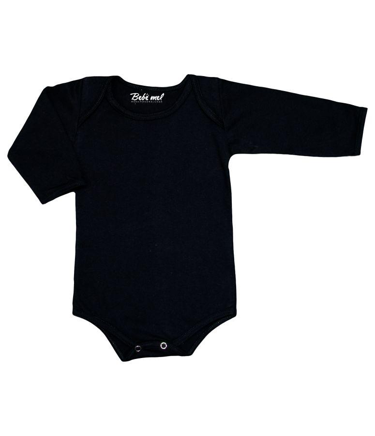 Body de Bebê Preto Liso Manga Longa