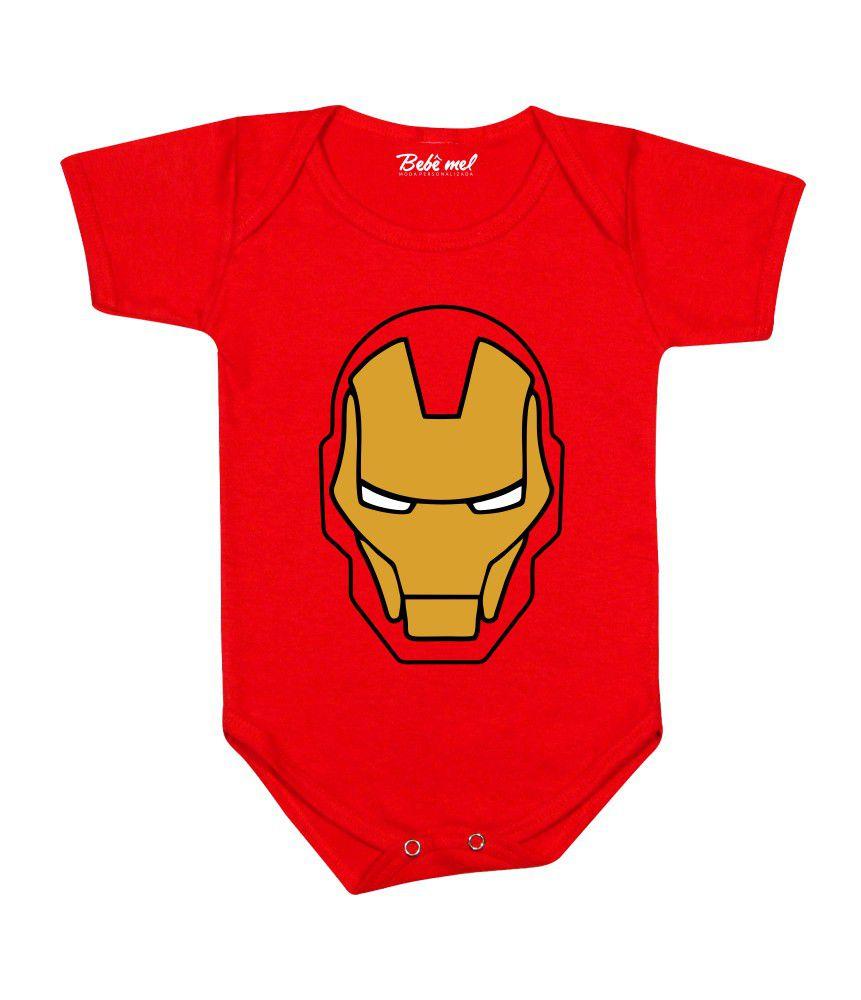 Body de Bebê Super Herói Homem de Ferro