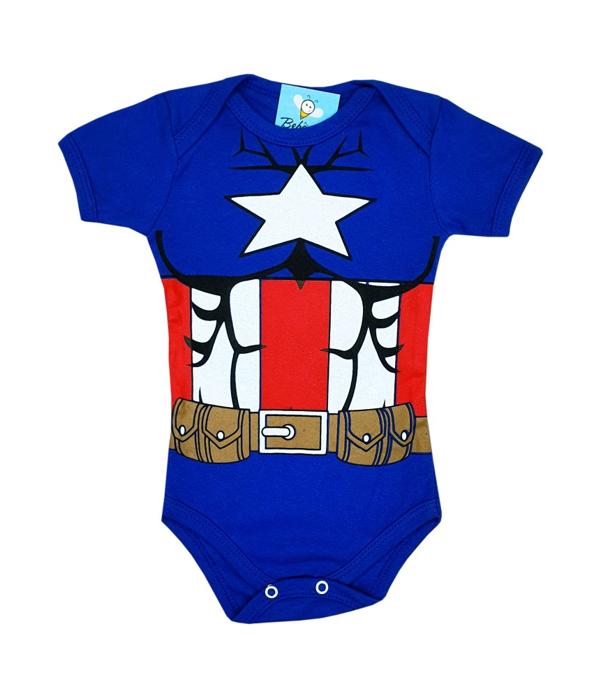 Body de Bebê Super Herói Mêsversário Capitão América