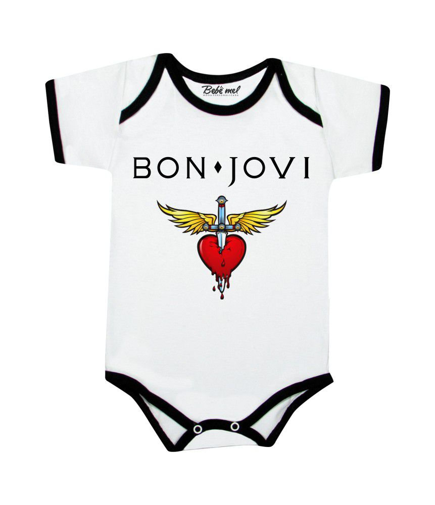 Body de Rock Bebê Banda Bon Jovi