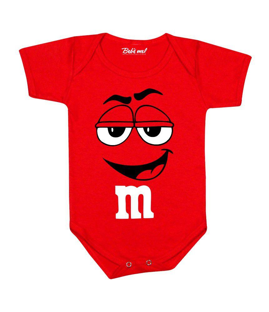 Body Divertido Bebê Mms Vermelho