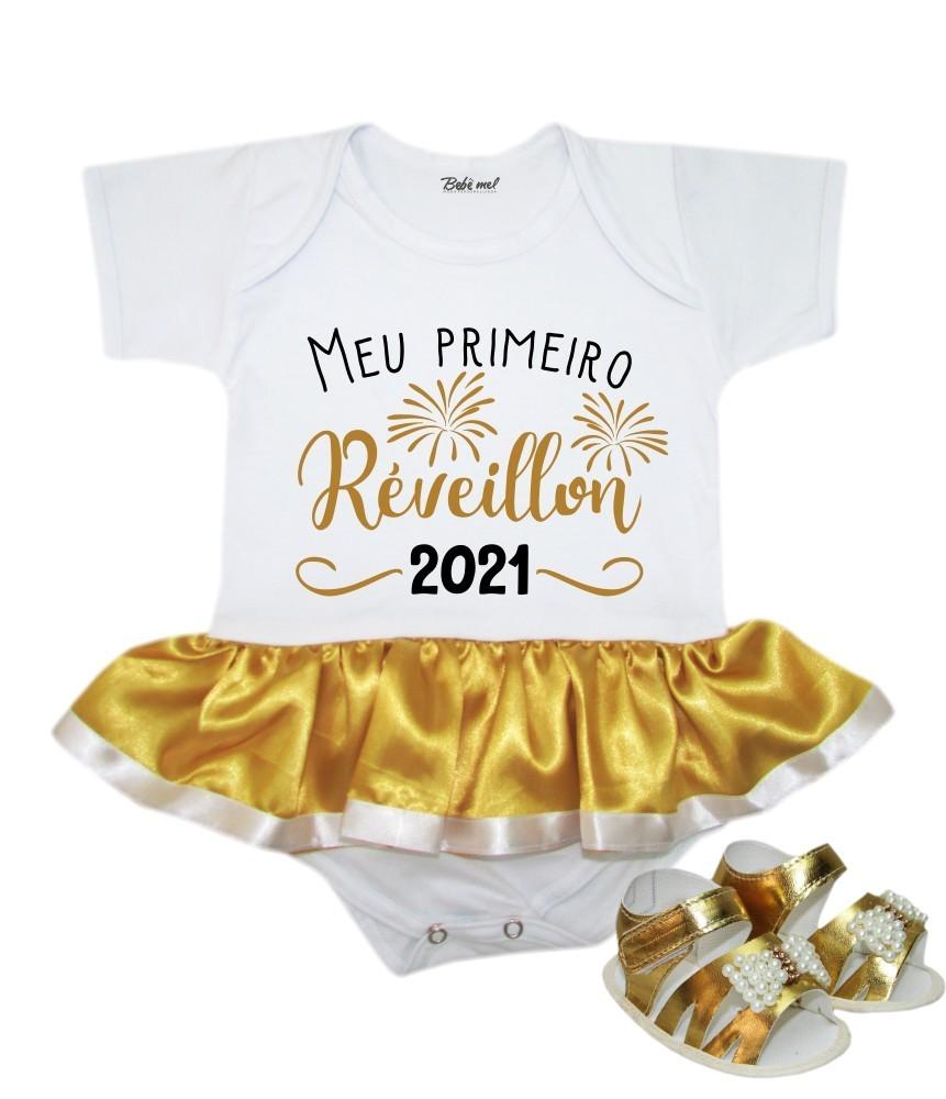 Body Saia Bebê Ano Novo Meu Primeiro Réveillon 2021 + Sandália