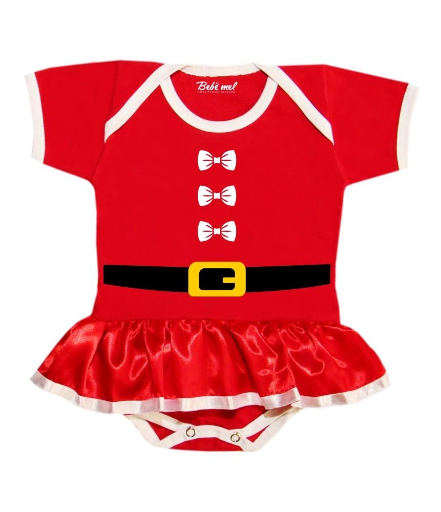Body Saia Bebê Natal Roupa de Mamãe Noel