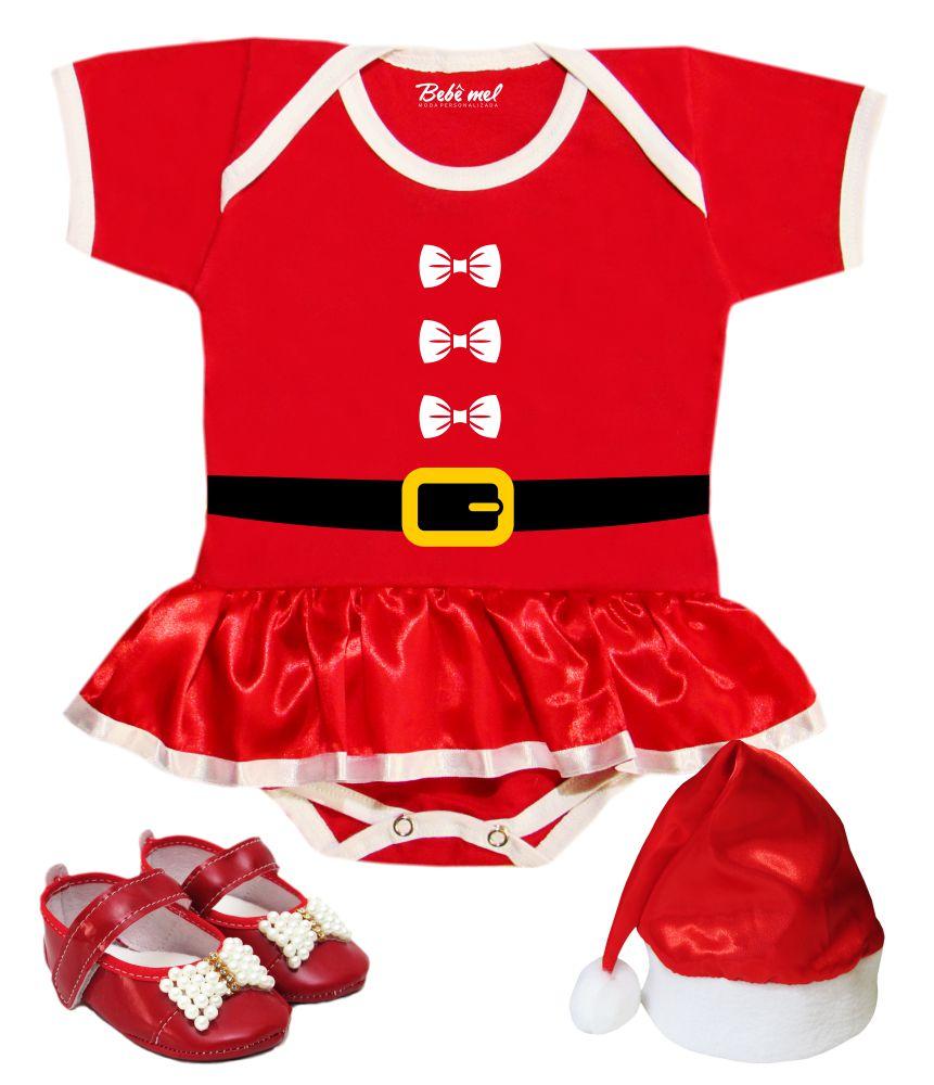 Body Saia Bebê Natal Roupa de Mamãe Noel com Gorro e Sapatinho