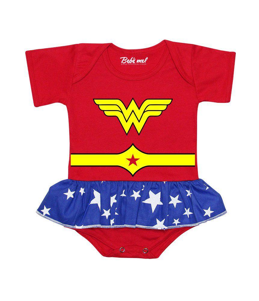 Body Saia Bebê Super Heroína Mulher Maravilha